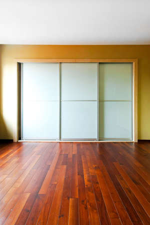 glass door: Big closet with glass doors in empty room