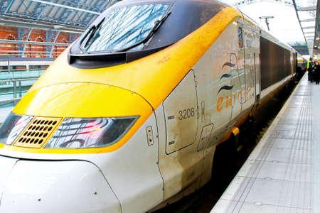 eurostar: Eurostar locomotive at St.Pancras London station