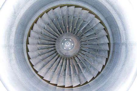 titanium: Interior of powerful jet engine turbine with titanium blades