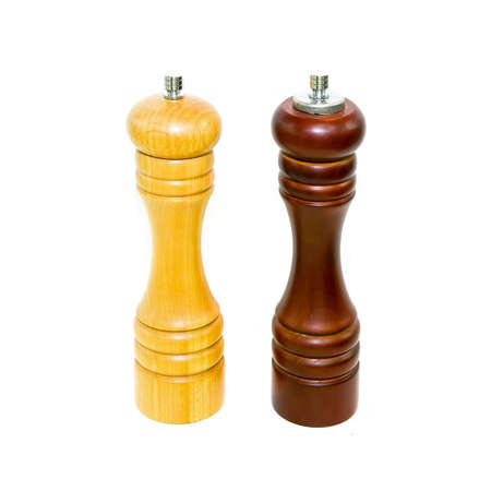pepper grinder: Wooden set of salt and pepper grinder Stock Photo