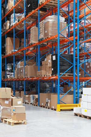 shelving: High rack shelving system in distribution warehouse