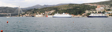 ferryboat: Port of Dubrovnik with ferryboat and ship panorama Stock Photo