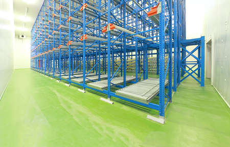 empty warehouse: Empty shelving system in new distribution warehouse