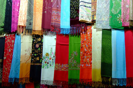 Variety of silk scarves Islamic women use to cover their heads photo