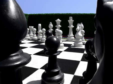 Human size chess figures in a garden on a chess board Stock Photo - 484692