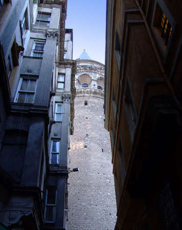 noted: One of narrow streets in Galata tower surroundings Stock Photo