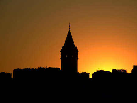 Sunset with Istanbul scenery and Galata tower in the background photo