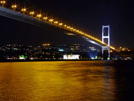 Bosporus Bridge at night with lights photo