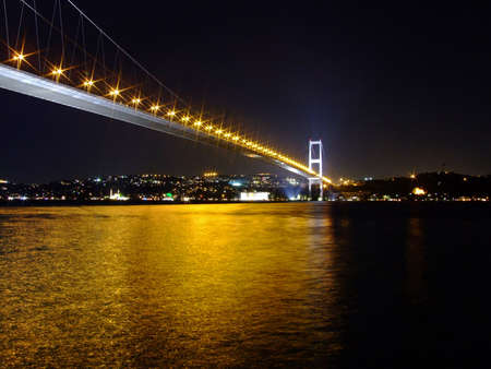 Bosporus Bridge at night with lights photo