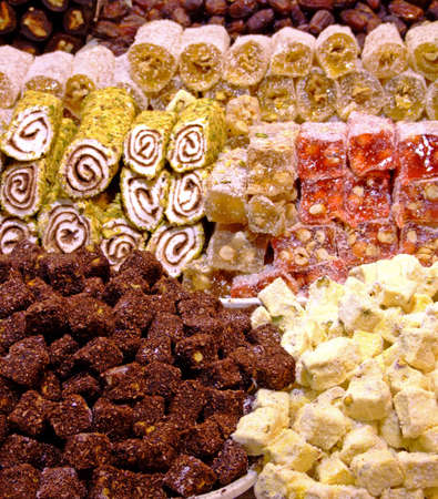comfit: Assortment of Turkish delights on a market Stock Photo