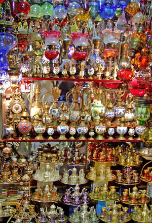 handicrafts: Bunch of colorful glass handicrafts in the shop