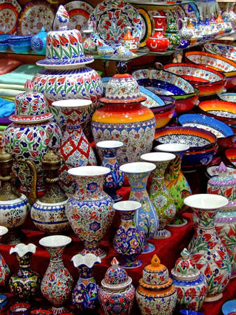 Bunch of colorful pottery in the shop Stock Photo - 498927