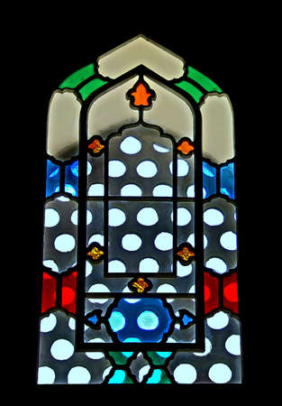 Colorful glass on the mosque window from inside Stock Photo - 508098