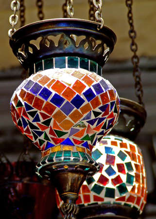 marketplace: Glass colorful lamp on Grand bazaar shop