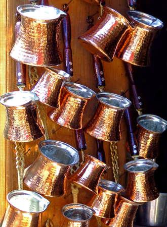 Bunch of copper pots on Istanbul Grand bazaar Stock Photo - 508063