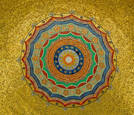 islamic art: Gold ornament on mosque dome ceiling
