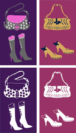 heals: Image of stylish shoes and bags. Colored and one color versions