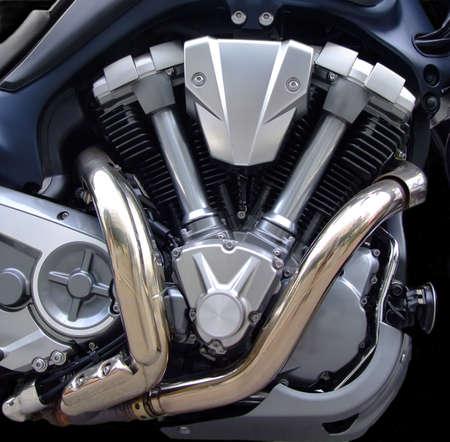 Powerful old style motorcycle V engine photo