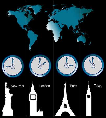 zone: Afbeelding van een wereldkaart met klokken blijkt tijde van de vier steden (New York, Londen, Parijs en Tokio) en beroemde bezienswaardigheden in deze steden