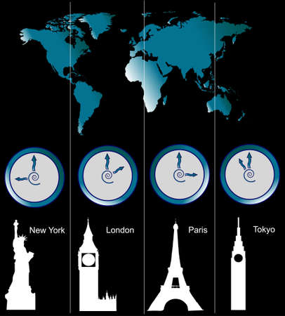 zones: Image of a world map with clocks showing time of four cities (New York, London, Paris and Tokyo) and famous attractions in those cities