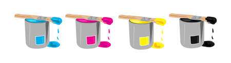 Four paint buckets in CMYK pallet photo