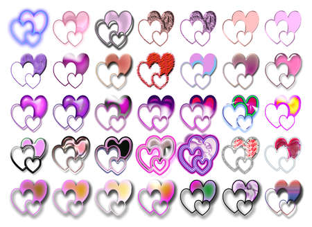Set of heart shaped icons with various effects photo