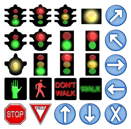 city lights: Set of icons for American style traffic signs Stock Photo