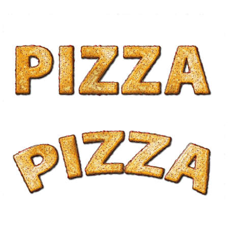 Pizza letters made of pizza topping texture photo