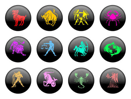 Set of icons for twelve zodiac signs