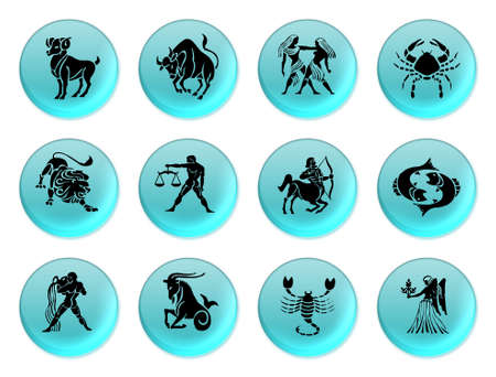 Set of icons for twelve zodiac signs photo
