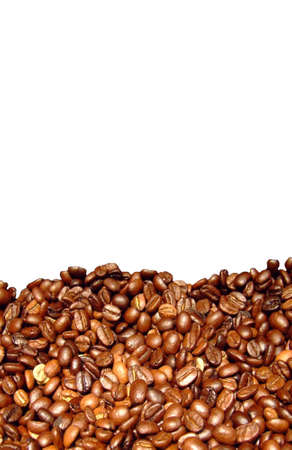 caffeine free: Macro shot of coffee beans isolated on white background with blank space for your text