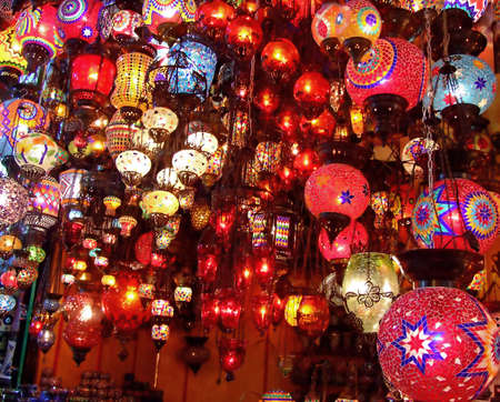 Bunch of colorful lamp handicrafts in the shop Stock Photo - 527766