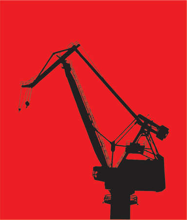 pulley: Detailed vector image of construction crane