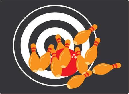 them: Vettore immagine di bowling pins colpito da una palla. Completo successo, tutti loro, a destra per il target, obiettivo realizzato  Vettoriali