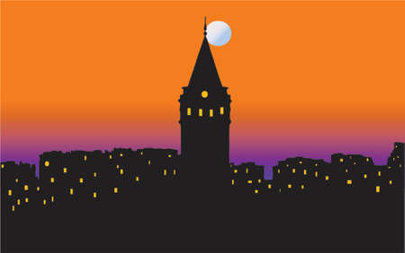 Vector image of Istanbul city scenery sunset with famous Galata tower