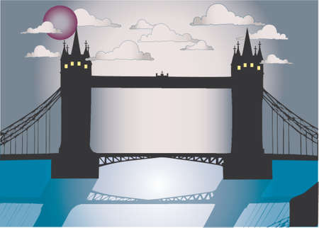 london tower bridge: Vector image of London city scenery at night with famous Tower bridge