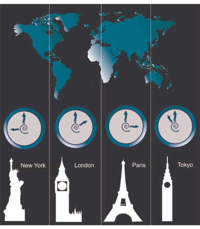Vector image of a world map with clocks showing time of four cities (New York, London, Paris and Tokyo) and famous attractions in those cities Vector