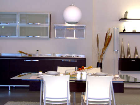 Dining room with modern furniture photo
