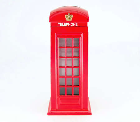 Classics London red telephone box isolated on white Фото со стока