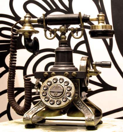 Classics old mechanic black telephone with big bells