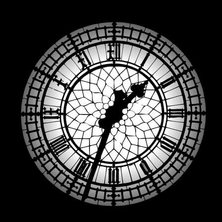 Big Ben silueta en blanco y negro reloj  Foto de archivo - 706354