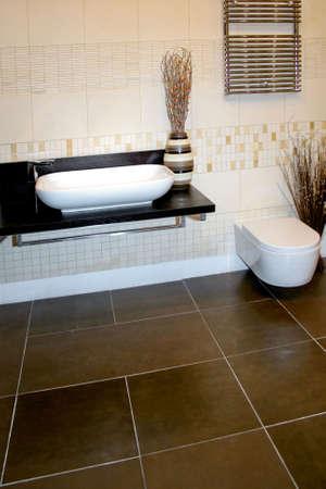 Modern beige bathroom design with ceramics decoration Stock Photo - 811970