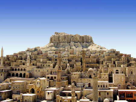 Old medieval Middle East city on the hill 免版税图像