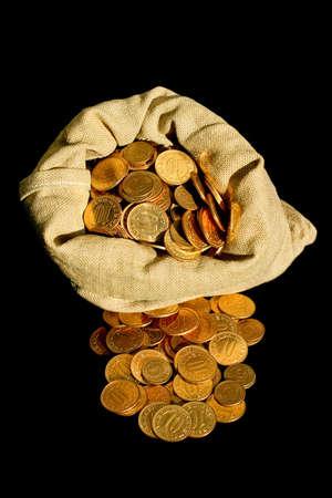 Bunch of golden coins in money sack Stock Photo - 1874218