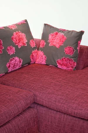 Two decorative pillows with purple floral design Stock Photo - 2105566