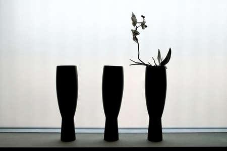 Three black ceramics vases on the rack Stock Photo - 2163225