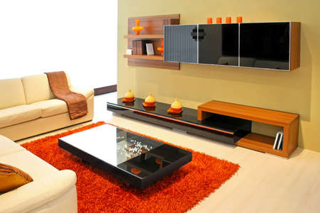Modern living room with wooden shelves and details Stock Photo - 2491316