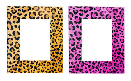 Two Photo Frames With Leopard Print Isolated Stock Photo, Picture ...