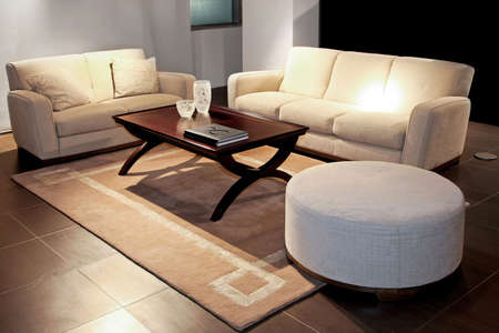 Modern living room with two beige sofas Stock Photo - 2691426