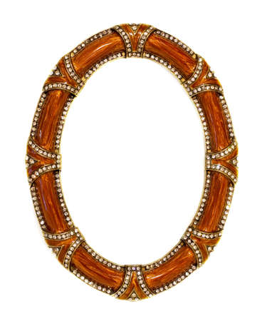 zircon: Luxury oval frame with zircon stones isolated
